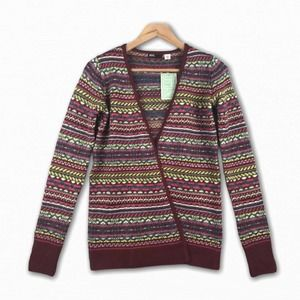 BDG Urban Outfitters Striped Cardigan Sweater Red